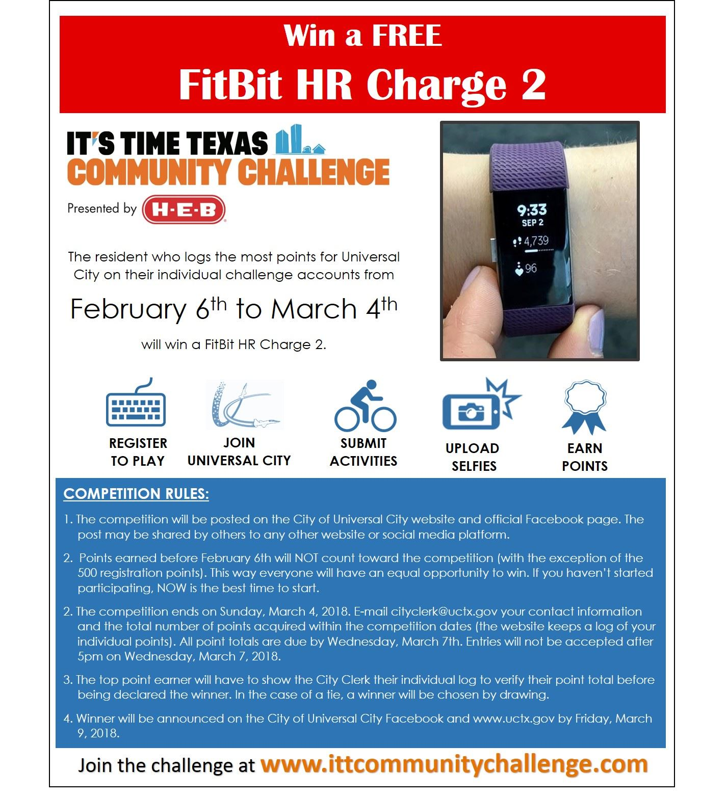 It's Time Texas Community Challenge - Local FitBit Challenge Flyer